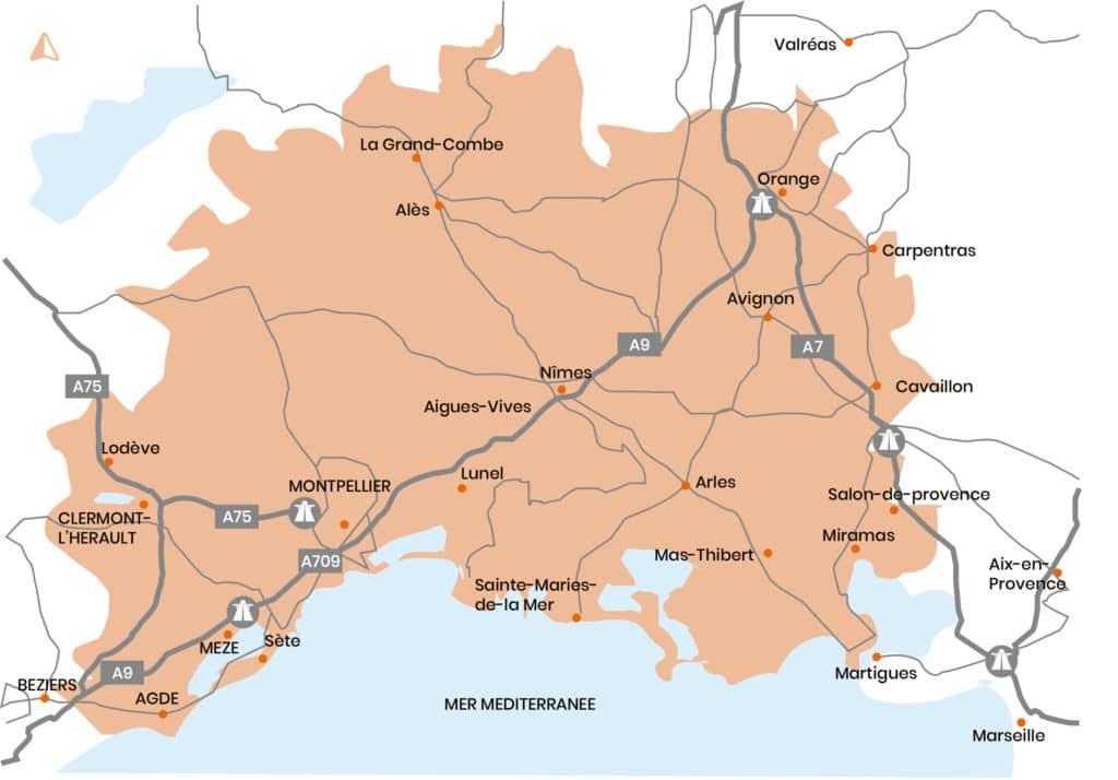 Zone d'intervention du gérant de Olivier Ramonage. Hérault, Gard, Vaucluse, Bouches du Rhône 30 34 13 84