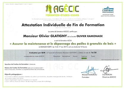 Certification AGECIC poêle à granulés